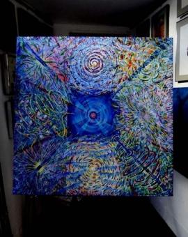 SOURCE - akryl, olej na płótnie, 90 cm x 90 cm, 2017