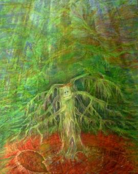 THE SPIRIT OF THE FOREST - technika mieszana na papierze, format 60 cm x 80 cm, 2017