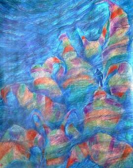 WAY TO BLUE - technika mieszana na papierze, format 60 cm x 80 cm, 2017