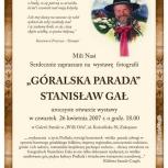 11.Afisz, wystawa fotografii Góralska Parada Stanisław Gał